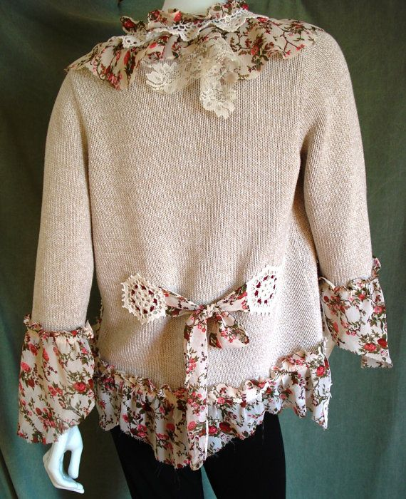 UPSCALING AND REPURPOSING..........PC............Altered couture  WEARABLE art ROMANTIC style CARDIGAN by natatusy, $55.00