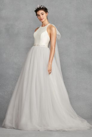 7331483a795b This White by Vera Wang ball gown combines the romance of a layered tulle  skirt with the modern profile of a racerback mikado bodice.