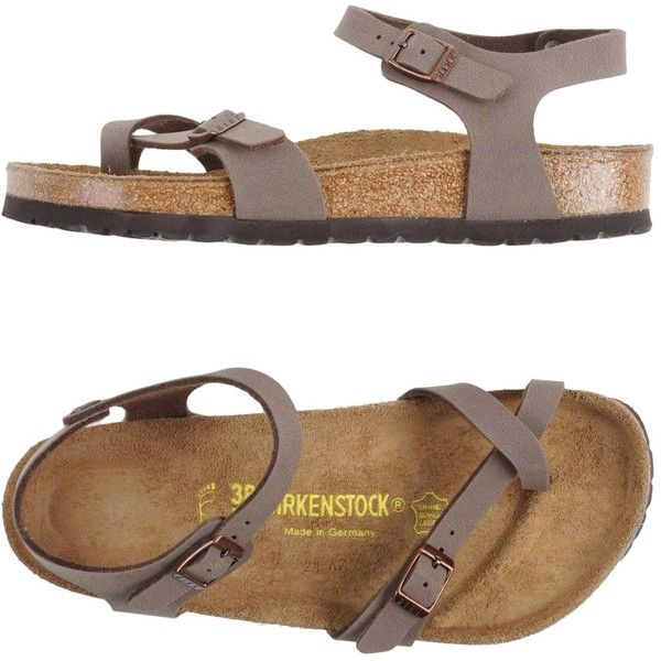 Birkenstock Thong Sandal ($119) ❤ liked on Polyvore featuring shoes, sandals, khaki, khaki shoes, birkenstock sandals, toe thongs, birkenstock footwear and buckle sandals