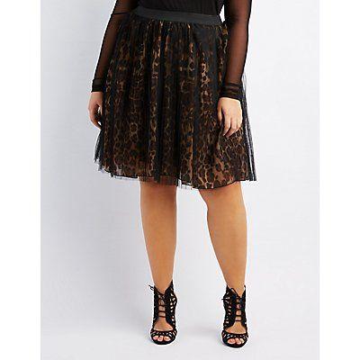 Plus Size Black Leopard Tulle Overlay Skirt - Size 1X