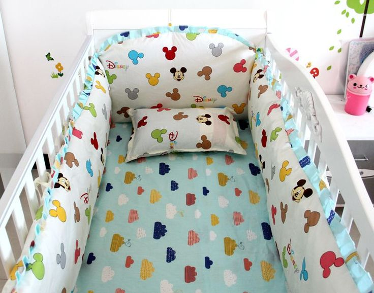 Promotion! 6PCS baby crib Crib bedding set Baby Bedding bumpers.100% cotton Factory direct bedding  (bumper+sheet+pillow cover)