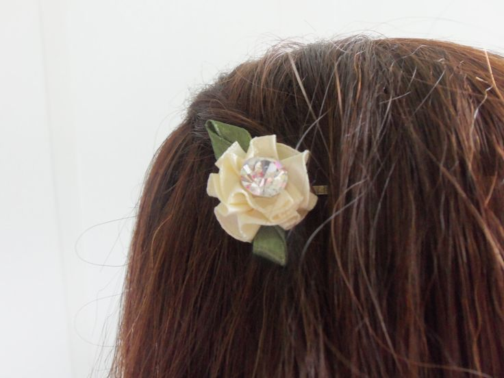 Pleated Cream Rosette Bobbie - Set of 2, Bride, Bridesmaids, Flower Girl, Wedding Accessory, Rehearsal Dinner, Honeymoon, Gift Idea:  A-15 by BelovedBridalDesigns on Etsy