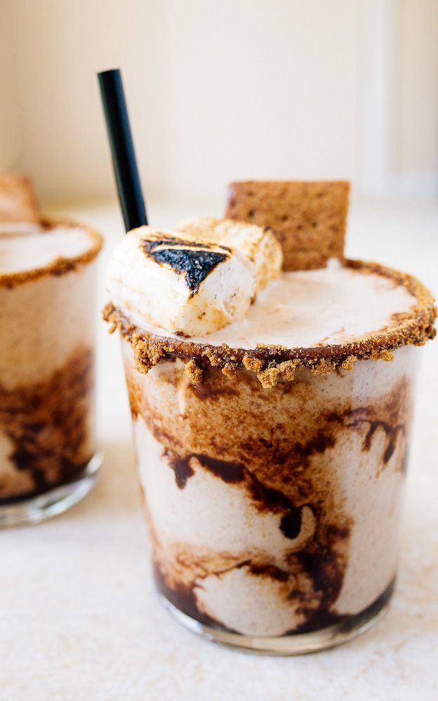 S'mores Milkshake for Two with homemade graham crackers and homemade marshmallows! Oh, and homemade chocolate sauce!