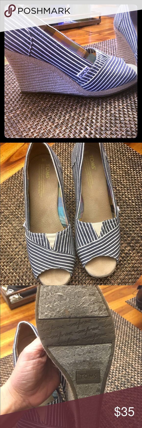 TOMS Peep Toe Wedges Cute TOMS peep toe wedges size 6 TOMS Shoes Wedges