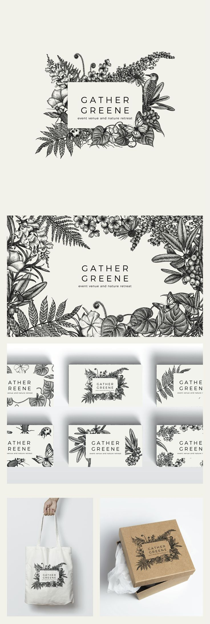 Botanically inspired logo design and brand identity pack for Gather Greene Event Venue. Graphic Inspiration.