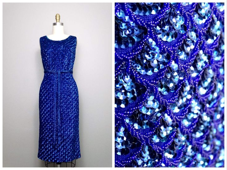 1960s Hand Beaded Dress • Braxae Vintage Co // Bold Royal Blue Sequin Embellished Dress w/ Belt // Alexander's Boutique British Crown Colony by braxae on Etsy https://www.etsy.com/listing/503266740/1960s-hand-beaded-dress-braxae-vintage