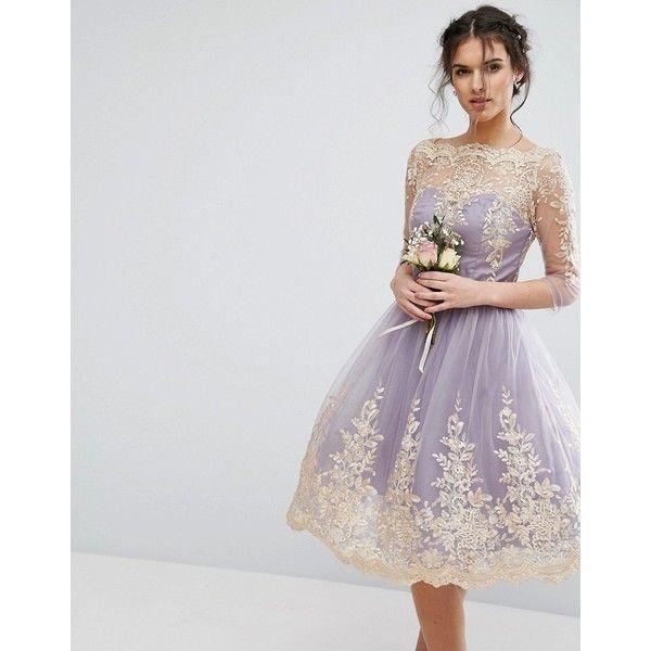 chi chi london metallic premium lace midi dress with 3 4 sleeve