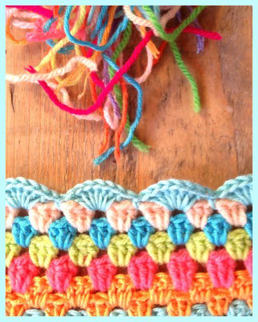 Scallop edging for granny blanket ::  7dc, sk2, sc, sk2, repeat  #crochet