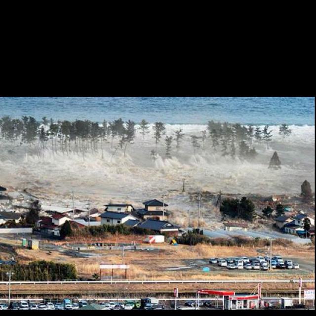 Tsunami in Japan swallowing a village