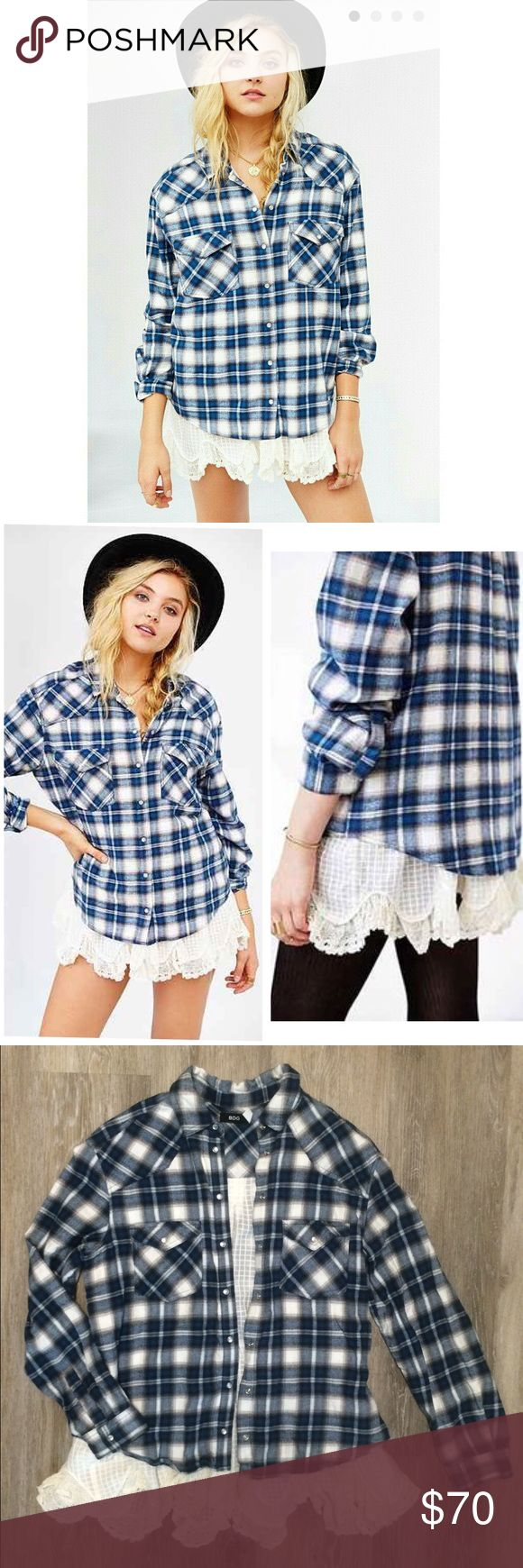 Urban Outfitters BDG Lace Petticoat Flannel Blue and white flannel with a crochet/lace attachment that shows at bottom. Goes great with leggings and boots. Size small, perfect condition. Not sure if I want to sell yet so open to offers. Urban Outfitters Tops Button Down Shirts