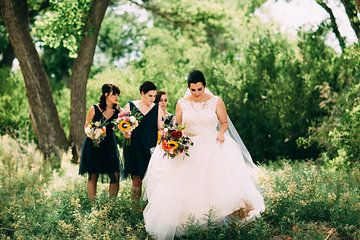 Wedding, woodlands, floral, sunflowers