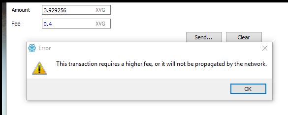 How to know the transaction fee to use for verge?  So I have about 4.3 XVG in my Electrum-XVG 2.4.1 Wallet.  I am trying to transfer it to Binance but how much fee should i set? The default setting is 1 XVG but on the official page it says 0.1 XVG  https://vergecurrency.com/faq/#how-much-is-the-transaction-fee  I even tried to set a fee of 0.4 XVG but the Wallet says:  So how can I know what transaction fee I have to use in this case for Verge?  Note: if i set 1 XVG at that point it says…