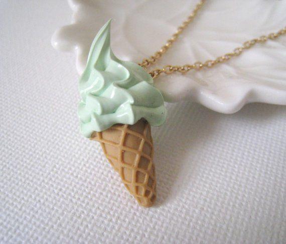 polymer clay - mini ice cream pendant necklace