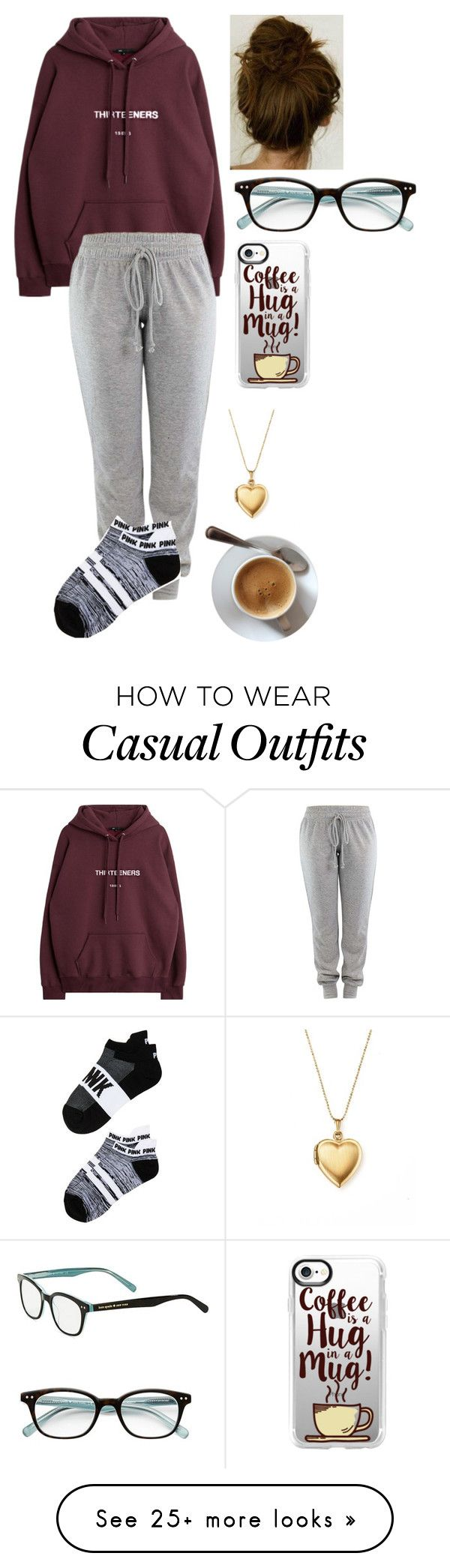"""Casual Lazy Day~~"" by ninjapandaforever on Polyvore featuring Victoria's Secret, Casetify, Kate Spade and Bloomingdale's"