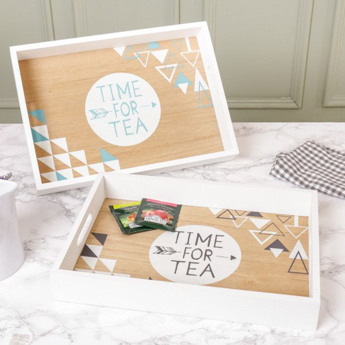 "Made from wood with a warm oak coloured base with the wording ""Time for Tea"" with raised sides finished in gleaming chalk white complete with handles to make for easy safer transportation. This tray would add a fabulous contemporary twist to any kitchen and is beautifully designed to suit any interior decor should you wish to leave this decoratively placed on the coffee table in the lounge.     Available in Blue or Grey."