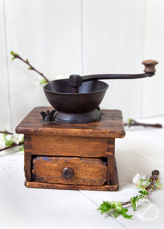Vintage Rustic Coffee Mill  Wood and Cast by ScrumptiousVenus