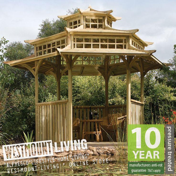 New 13x11ft garden wooden oriental japanese pagoda pergola for Japanese pergola kits