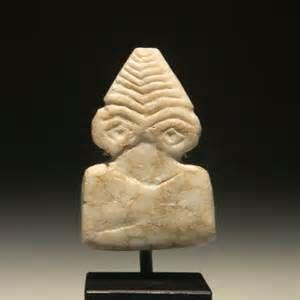 syrian protohistoric limestone eye idol of plank idol type but with a ...