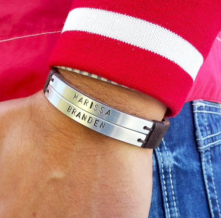 Personalized Mens Leather Cuff Bracelet, Childrens Name Bracelet, Name Plate, Date Plate, ID Bracelet, Anniversary Gift, Fathers Day Gift