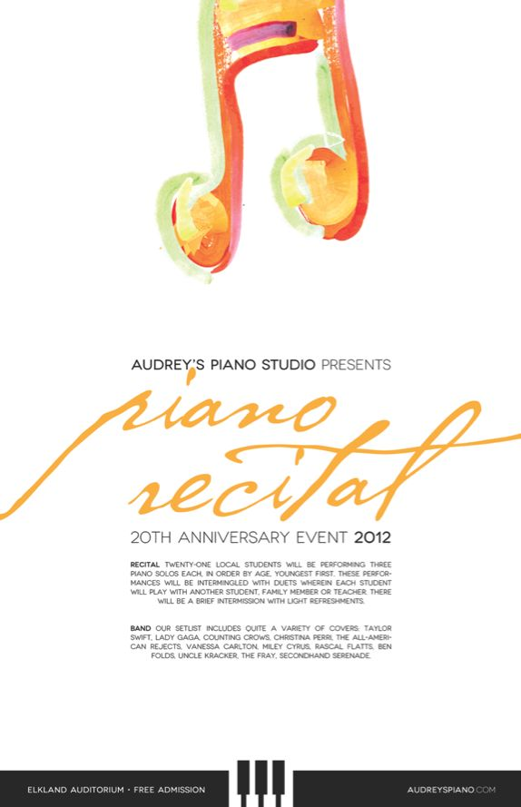 2012 Recital/Concert poster for a piano teacher in Pennsylvania.