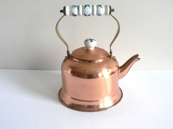 Copper Kettle With Brass and Delft Ceramic by myTreasureNook