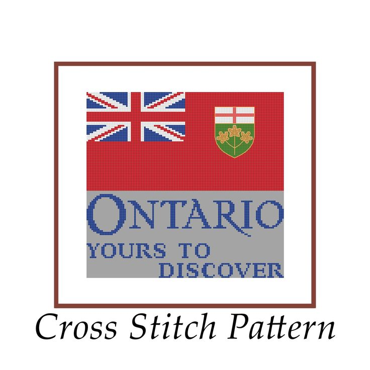 #crossstitch #pattern #lakeviewneedlework #ontario #canada Ontario Flag Cross Stitch Pattern PDF Canada Patriotic Maple Leaf Yours To Discover Logo Licence Plate Embroidery Province Instant Download by LakeviewNeedlework on Etsy
