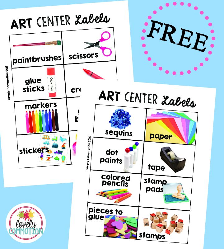 Free preschool art center labels.