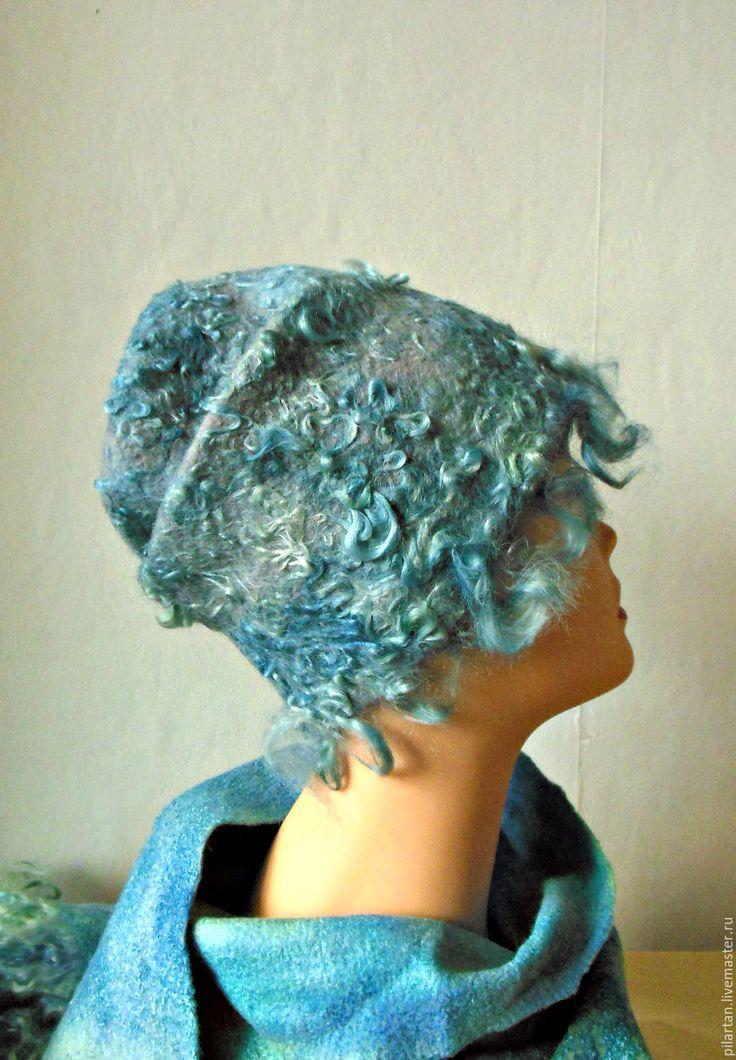 Купить Шапка бини валяная голубая Герда - голубой, шапка, шапка женская, шапка валяная