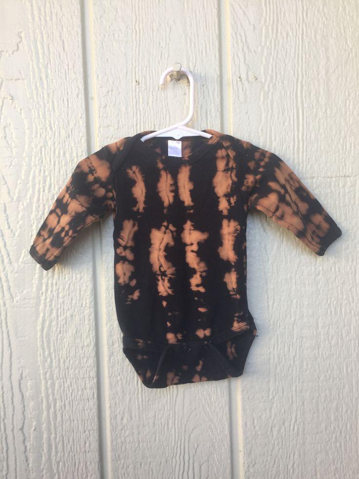 Baby Onesie! Black and Brown Bleach tie dye 612 month in