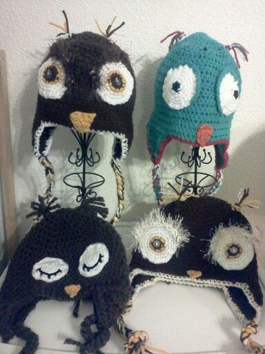 Crochet owl character hat