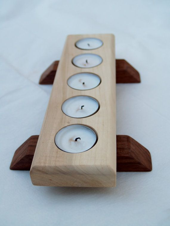 Sycamore and walnut tea light holder by HannisonWoodworks on Etsy