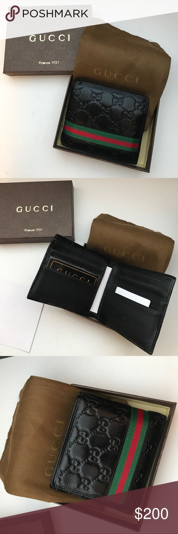 Gucci bi-fold wallet Has 6 card slots and 2 slots for dollar bills.  Comes with dust bag & box.  Haven't had it long it's in excellent condition barely used.  Just decided to go in a different direction. Gucci Accessories Key & Card Holders