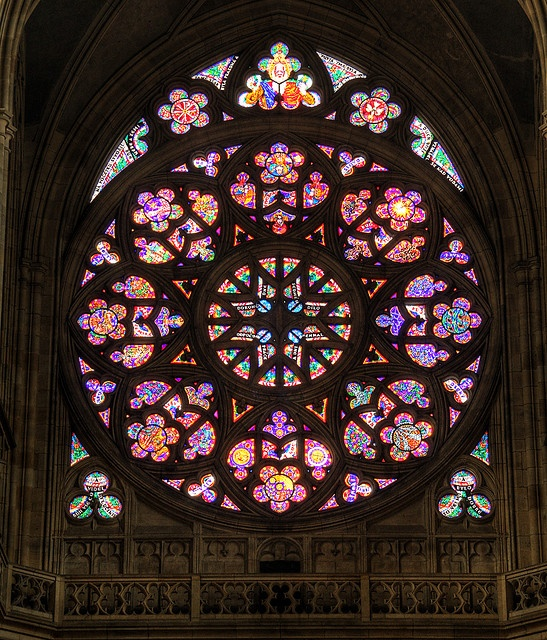 HDR Rose Window of the St. Vitus Cathedral, Prague, Czech Republic