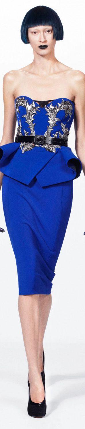 Julien Macdonald Autumn/Winter 2012. Love the peplum top and belt and long skirt.