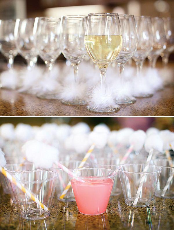 bunny tail straws - puff balls around straws and stems of wine glasses - how bunnerific!