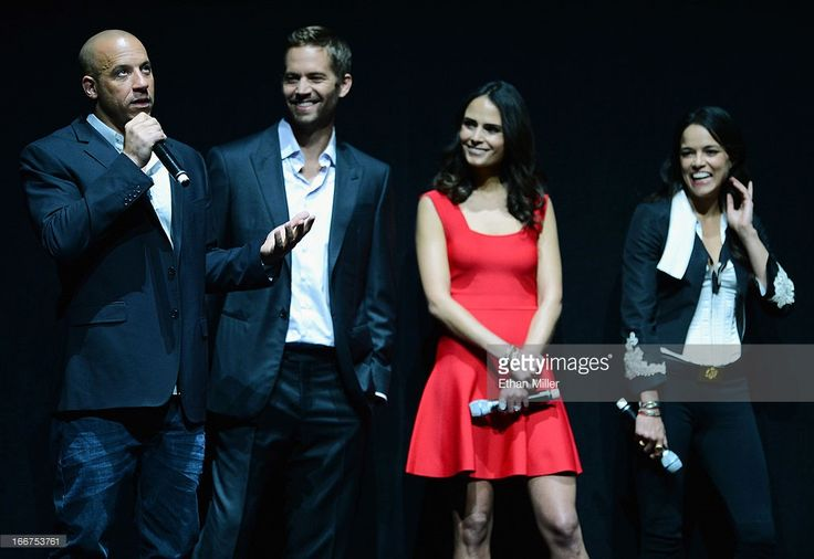 Actors Vin Diesel and Paul Walker, and actresses Jordana Brewster and Michelle Rodriguez attend a Universal Pictures presentation to promote their upcoming film 'Fast & Furious 6' at The Colosseum at Caesars Palace during CinemaCon, the official convention of the National Association of Theatre Owners, on April 16, 2013 in Las Vegas, Nevada.