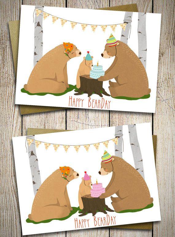Biglietto Auguri per il primo compleanno bambino/a, Illustrazione famiglia di orsi compleanno, con busta realizzata a mano