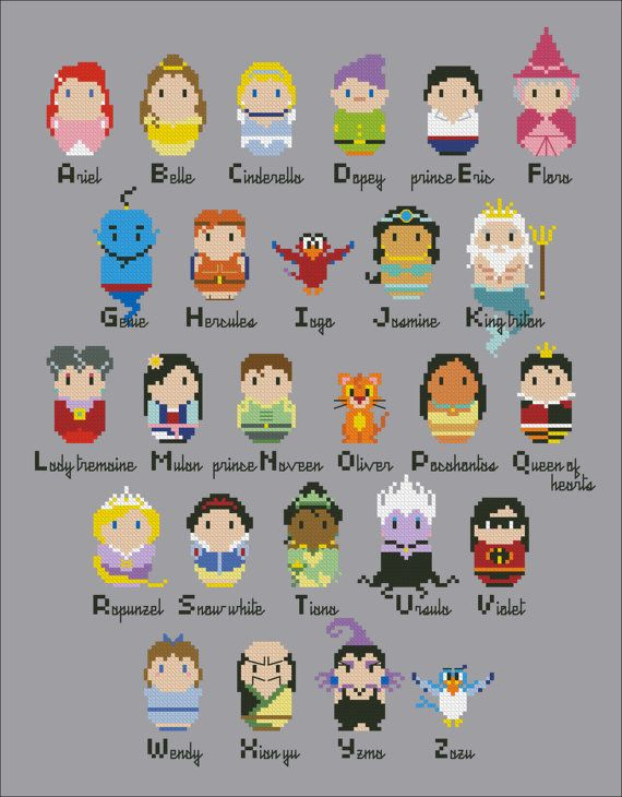 Disney alphabet sampler Cross stitch by cloudsfactory - I swear, I'm gonna have to make this for some friends...