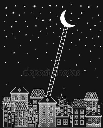 Скачать - Черный и белый на Луну и обратно векторные иллюстрации. Старый город, ночное небо, лестницы на Луну на черном фоне — стоковая иллюстрация #86072916