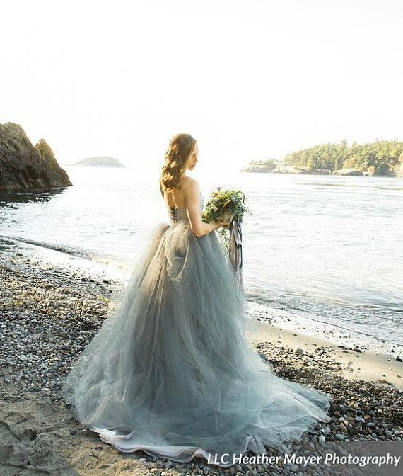 Tulle Wedding Dress, Strapless lace with Tulle Skirt, Train, TULA, Grey, Black, White, Any Color