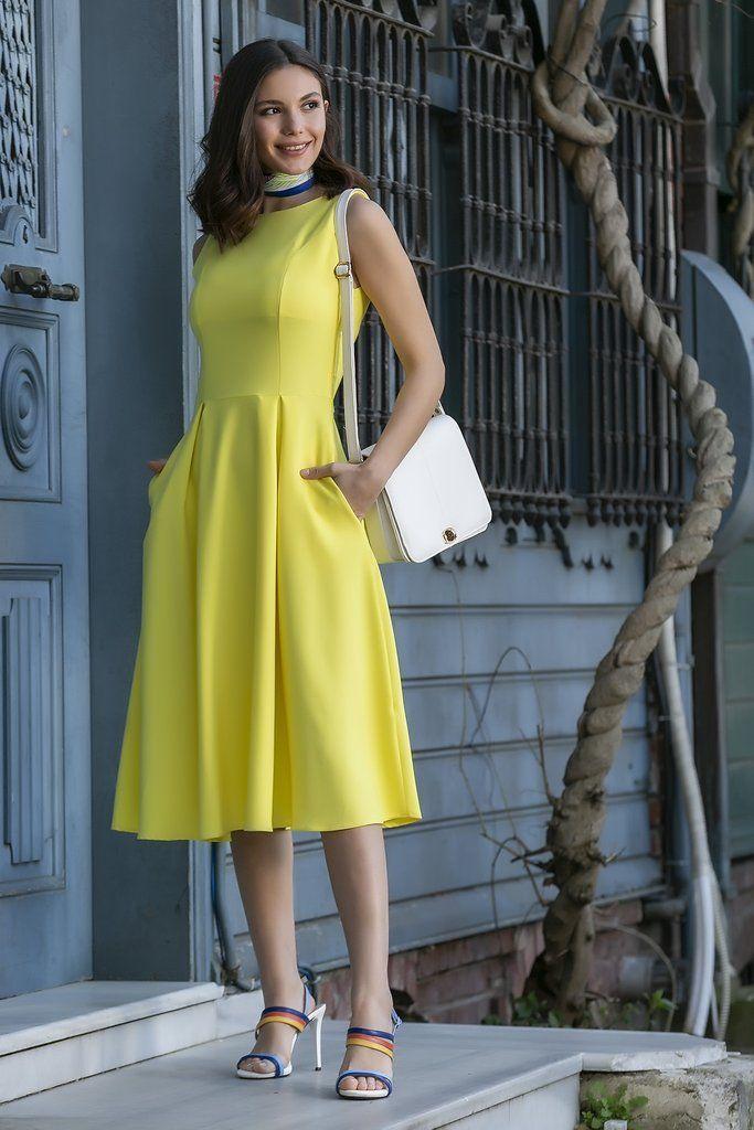 فستان واسع ميدي أصفر Dresses Fashion Sleeveless Dress