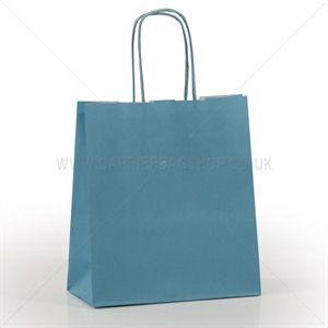 Premium Papiertragetaschen mit Kordelgriffen hellblau