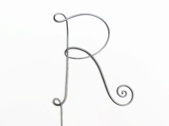 Wire Monogram Initial Cake Topper 4 or 5 Inch- Your Choice of Letter R- Silver, Gold, Brown, Black, Red, Copper Rose - pinned by pin4etsy.com