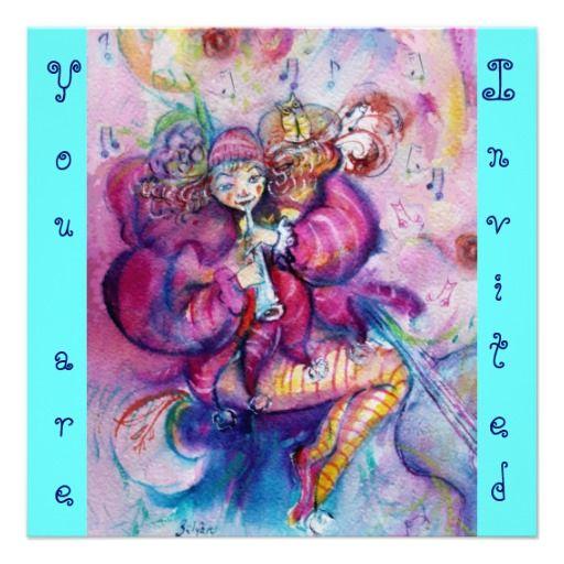 MUSICAL CLOWN ,pink blue turquase Custom Invitation