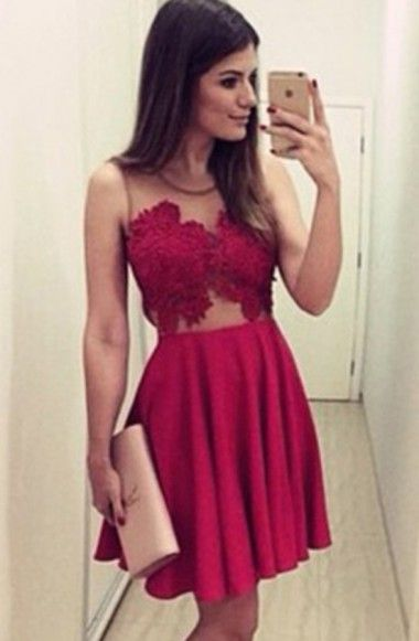 Sexy Scoop A-line Short Sleeveless Burgundy Homecoming Dress