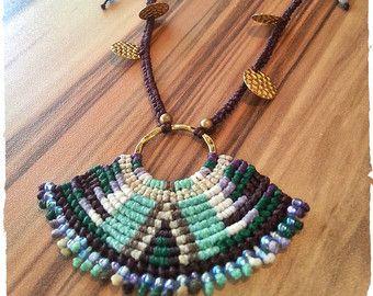 Macrame necklace#Boho necklace#Bohemian style#Adjustable#beaded necklace#hippie necklace#Micromacrame#Κολιέ πλεγμένο με τεχνική μακραμέ