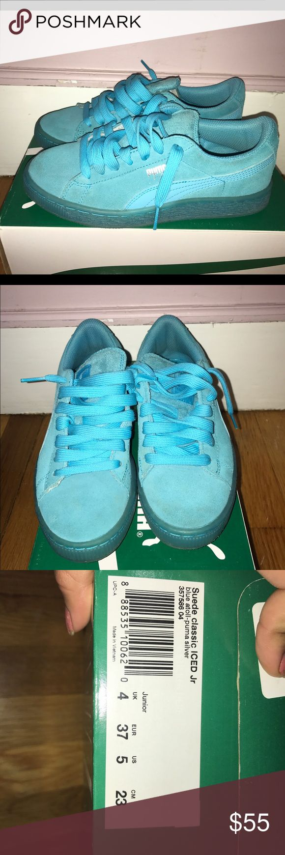 Puma Suede Cassics Juniors blue puma suedes. Still in very good condition! Puma Shoes Sneakers