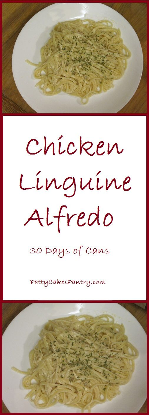 Chicken Linguine Alfredo--canned chicken and canned milk are used to creat this simple and delicious alfredo sauce.