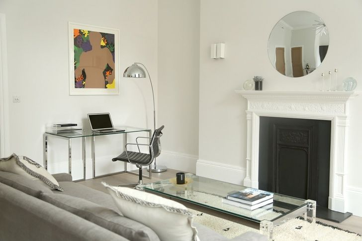56 Welbeck Street | One Bedroom Apartment Work Desk | Vintage Eames Chair | Gary Hume Print | Vintage Beni Ourain | Vintage Lucite Coffee Table