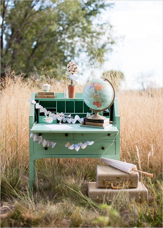 Vintage Travel Theme Wedding Inspiration - guest book table